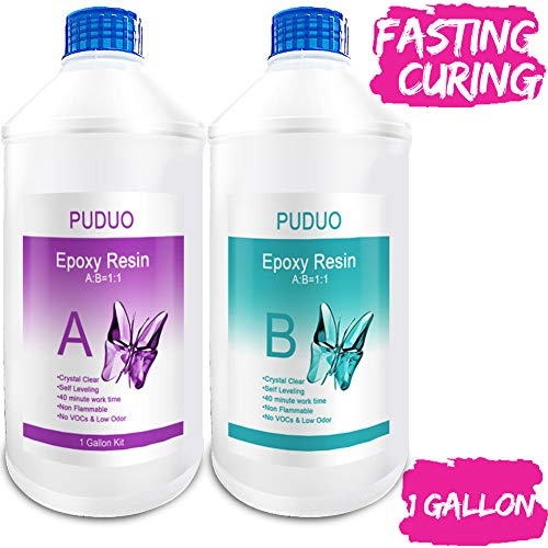 Epoxy-Resin-Crystal-Clear-Art 1 Gallon Kit for Coating, Casting, Resin Art, Jewelry, Tabletop, Bar Top, Live Edge Tables, Fast Curing 2 Part Epoxy Casting Resin Kit