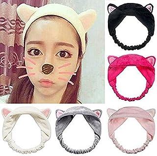 Adecco LLC 5 Pack Cat Ear HairBand, Washing Face Shower Headbands, Makeup Hairbands, Beauty Lovely Spa Headbands For Women...