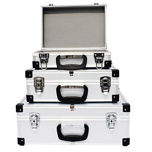 Froadp Werkzeugkoffer Klein Werkzeugkasten 3er set Alukoffer Alubox Transportkiste für Universelle Aufbewahrung von Werkzeug und Zubehör(Type A, Silber)