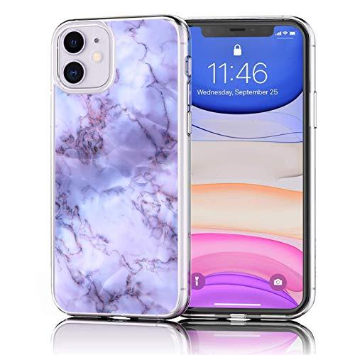 Verco Handyhülle für iPhone 11 Hülle, Premium Muster Handy Cover für Apple iPhone 11 Hülle weiches Flexibles TPU Hülle (6,1 Zoll), Purple Marmor