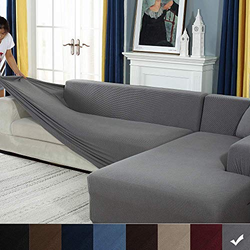 Zhongdalian Sofabezug Sofaüberwürfe für L-Form Sofa elastische Stretch Sofabezug,Set für 1-4 Sitzer Sofa