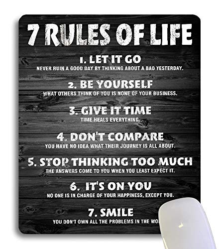 Wknoon 7 Rules of Life Motivational Quotes Mouse Pad Custom, Inspirational Quote About Life Rustic Black Wood Grain Mouse Pads for Computers