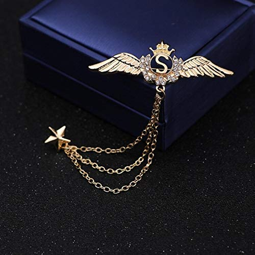FISH4 Fashion Men Women Chain Pins Crown Angel Wings Dragon Navy Anchor Vintage Corsage Badge Eagle Reindeer Wolf King Brooch