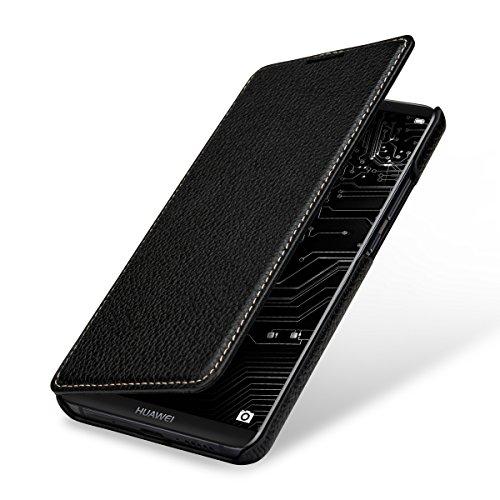 StilGut Book Type Hülle, Hülle Leder-Tasche für Huawei Mate 10 Pro. Seitlich klappbares Flip-Hülle aus Echtleder für das Original Huawei Mate 10 Pro, Schwarz