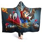 QIAOQIAOLO Super Mario Home - Manta con capucha para adultos y niños (80 x 60 pulgadas)