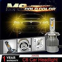 車用LEDバルブ LED車のヘッドライトH7 H4車LED電球LED H11 HB5 / 9007自動車ヘッドランプ6000K / 3000Kフォグランプ72W 7600LM 車、トラック、SUV、バン用 (Emitting Color : 3000K Color Light)