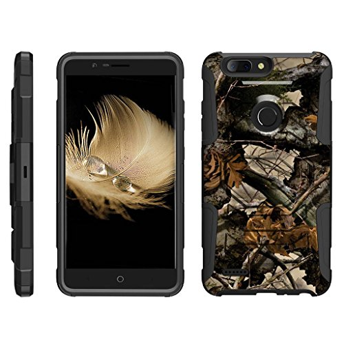 TurtleArmor   Compatible with ZTE Blade Z Max Case   ZTE ZMax Pro 2 Case [Octo Guard] Dual Layer Case Holster Belt Clip Sturdy Kickstand Cover - Tree Leaves Camouflage