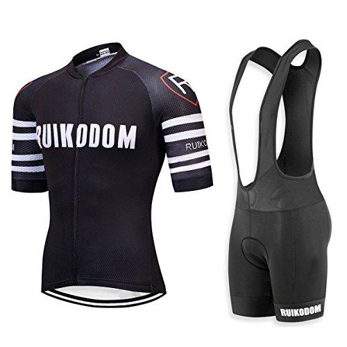RUIKODOM Maillots de Bicicleta Conjunto de Verano Hombres Ropa de Ciclo Jersey de Manga Corta + Pantalones Cortos Acolchados Cómodo Respirable Secado rápido