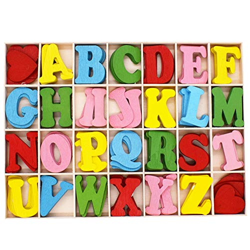 112 Pezzi Colorato Wooden Letters Amore Set Lettere Maiuscole in Legno Lettere A-Z with Storage Tray in Legno Naturale Liscio Colorato per DIY Artigianato Scuola Decorazione