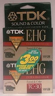 TDK E-HG Sound & Color TC-30 VHS-C Tape (2-Pack)
