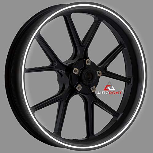 Autodomy Pegatinas Llantas Moto Reflectante Sport Juego Completo para 2 Llantas de 15' a 19' Pulgadas (Blanco/Plata Reflectante, Ancho 7 mm)