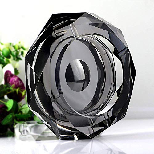 Amlong Crystal Octagon Black Large Crystal Ashtray 6 Inch X 6 Inch (150mm X 150mm) for Cigarettes or Cigars with Gift Box