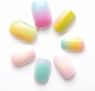 24 Pcs Gradient Color Rainbow Children False Nails Pre-glue Press on Fake Nails Tips for Kits Little Girls