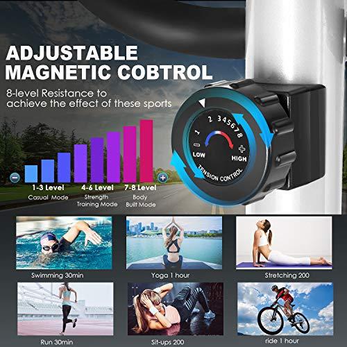 ANCHEER Elliptische Maschine, Ellipsentrainer für den Heimgebrauch mit Pulsfrequenz-Griffen und LCD-Monitor, magnetisch, glatt, leise angetrieben, maximale Kapazität Gewicht 150kg - 3
