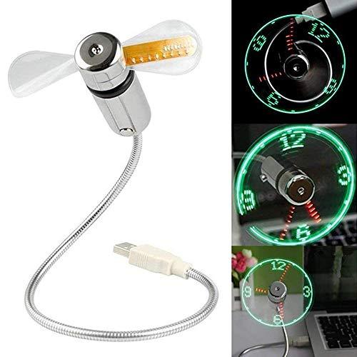 Usb Klok Ventilator, USB Tijd Display Klok Fan, USB-aangedreven Draagbare Ventilator met Klok, Licht Display Tijd voor Computer Laptop Koeling Ventilator