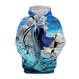 Men Women 3D Tropical Fish Printed Hoodie Long Sleeve Pullover Hooded Sweatshirts Tops Blouse K19 6XL