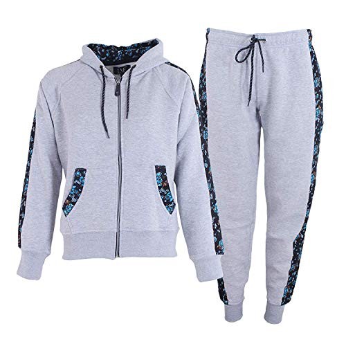 Love My Fashions® Dames Trainingspak Fleece Floral Side Panel Jogging Suit Set - Dames Casual geribbelde zoomboorden Uitloper - Casual hoodie met rits Bodems om te joggen Gym en fietsen