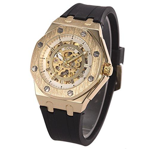 Herren Uhr - Schwarz Kautschuk Band Sport Uhr ManChDa Edelstahl Automatisch Mechanisch Gold Fall + Geschenkbox