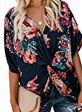 Imily Bela Womens Fashion Floral Blouses Twist Front Hawaiian Summer Oversized Shirts Tops Black