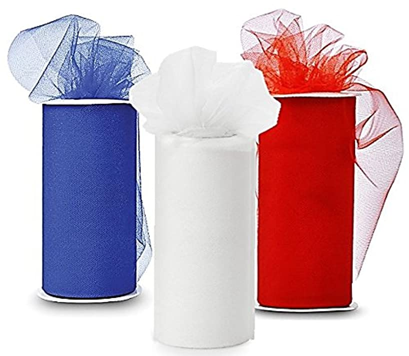 Patriotic Tulle - Three Spools of Tulle Fabric, 25-Yard each, Royal-Blue, Red and White