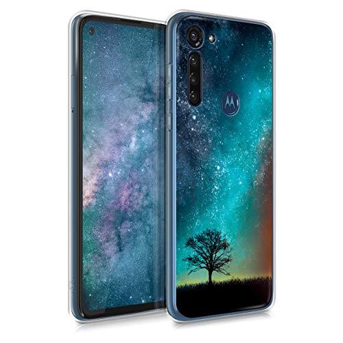 kwmobile Hülle kompatibel mit Motorola Moto G8 Power - Handyhülle - Handy Hülle Galaxie Baum Wiese Blau Grau Schwarz