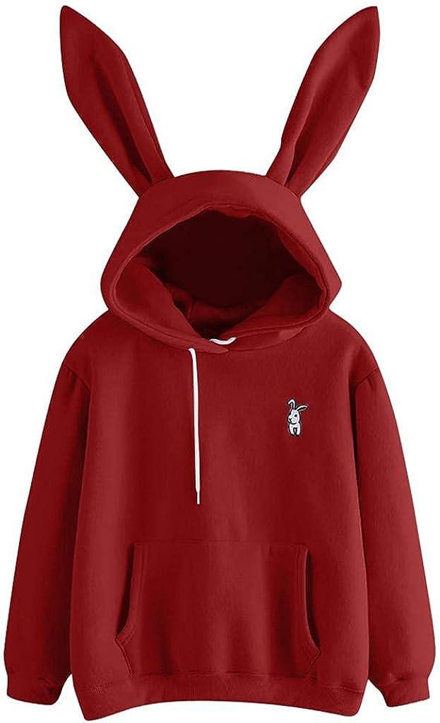 Xinantime Womens Cute Rabbit Ear Hat Sweatshirt Solid Color Pullover Shirt Long Sleeve Sweater Ladies Hoodie Blouse