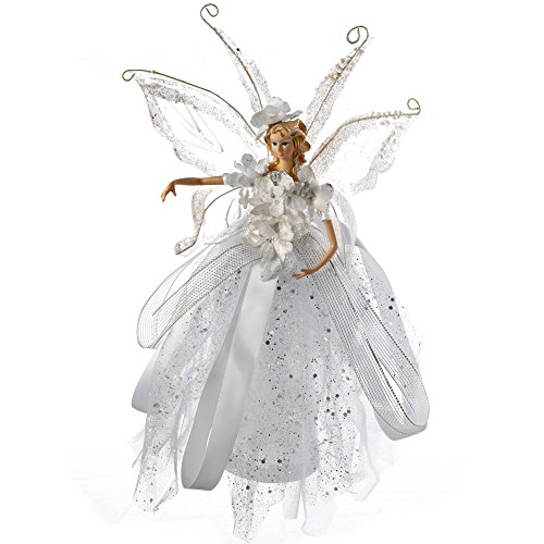 WeRChristmas Fairy Christmas Tree Topper with Ceramic Head and Hands, 28 cm - Silver