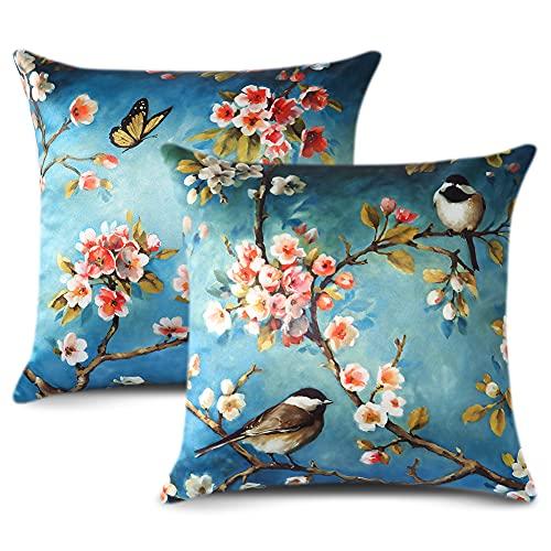 Artscope Juego de 2 fundas de almohada de seda satinada, diseño de pájaros, diseño de flores de mariposa, para sofá, decoración del hogar, 45,7 x 45,7 cm