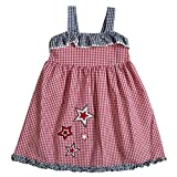 Good Lad Infant Girl Red Seesucker Off The Shoulder Sundress with July 4th Appliques, and Matching Panty (12M)