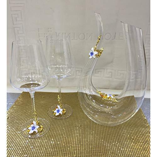 LDG 3-delige set kristal glas Decanter rode wijn glas kunst goud voor familie vriend geschenkdoos 1400 ml/650 ml