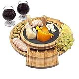 Tabla de charcuterie con juego de cuchillos de queso, bandeja de madera de bambú para queso, bandeja deslizable, para Navidad, cumpleaños, inauguración de la casa, regalos de boda