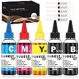 IUBEST Kit de Recarga Tinta 100 ml Cada Botella para HP Impresoras Cartuchos de Tinta Recargables y Sistemas CISS (1 Negro, 1 Foto Negro, 1 Cian, 1 Magenta, 1 Amarillo)