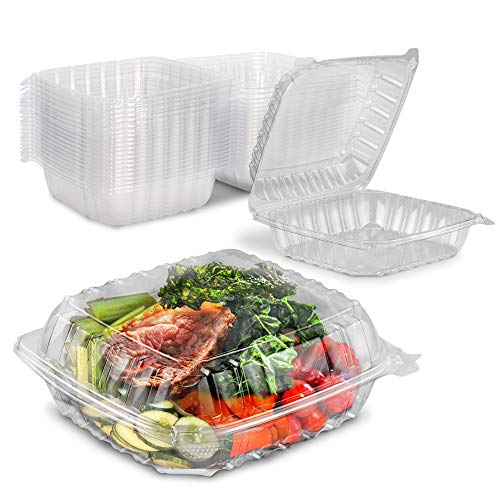 """[40 Pack] Clear Hinged Plastic Containers - 8x8x3"""" Single Compartment Clamshell Take Out Containers for Cake, Pastry, Salad - Disposable Plastic Togo Boxes with Lids for Bakery and Food Business"""
