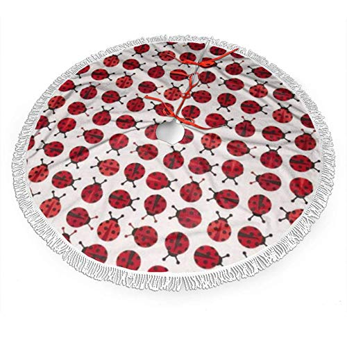 ouyjian Ladybugs Red Christmas Tree Skirt,Tree Skirt for Christmas Decoration, Holiday Party Mat for Xmas Decor Indoor Outdoor 48'