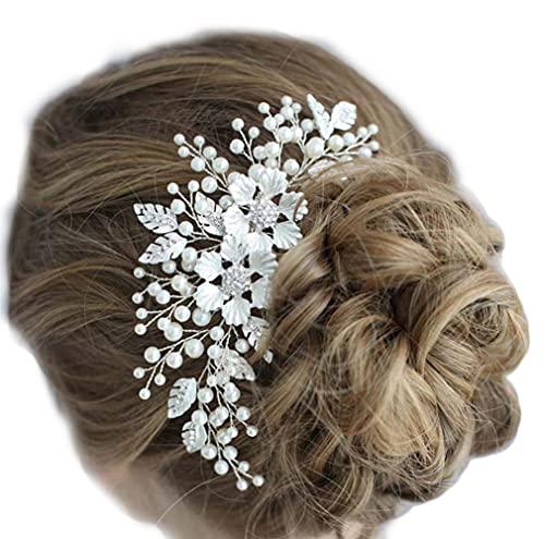 Longwu ヘッドドレス ヘアアクセサリー ヘアコーム パール 手作り 上品 ブライダル ウェディング 花嫁 髪飾り カチューシャ 髪留め 結婚式 成人式 卒業式 披露宴 ギフトボックス付き