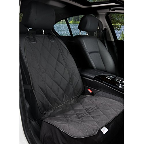 BarksBar Pet Front Seat Cover for Cars - Black, Waterproof & Nonslip Backing with Anchors, Quilted, Padded, Durable Pet Seat Covers for Cars, Trucks &...