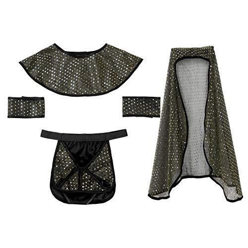 dPois 4Pcs Disfraz Faran Ejipcio Cosplay Fiesta Hallowen Ropa Interior Ertico para Hombre Tanga de Hilo Sexy Pijamas Lencera Dorado Talla nica