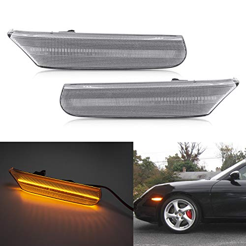 NSLUMO Led Side Marker Lights for Porsche 97-04 986 Boxster 996 Carrera 911 Clear Lens Amber LED Front Bumper Side Marker Assembly