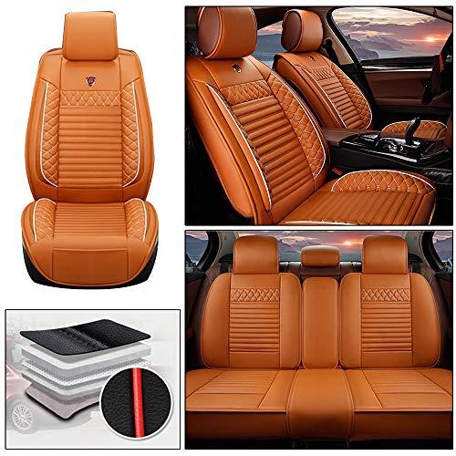 Handao-US Fundas de asiento de coche para Porsche Mancan de 5 asientos, protección impermeable para todo tipo de clima, fácil instalación (compatible con airbag), color naranja