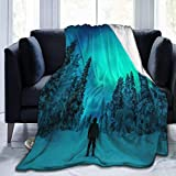 Inontime Cobija Northern Lights - Ultra Soft Micro Fleece Blanket for Men & Women- All Season Warm Fluffy Lightweight Thermal Throw Blanket for Outdoor Indoor Camping,60x50 Inches