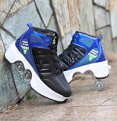 ZCXBHD Schlittschuhe Riemenscheiben Schuhe Multifunktionale Verformung Rollschuhlaufen Quadlaufen Outdoor-Sport Für Erwachsene Kind,Black-40