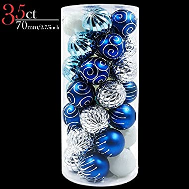 V&M VALERY MADELYN 35ct Shatterproof Christmas Balls Ornaments Silver and Blue, 2.76inch/7CM Christmas Ball Hanging Tree Ornament with String Pre-Tied (Winter Blue)