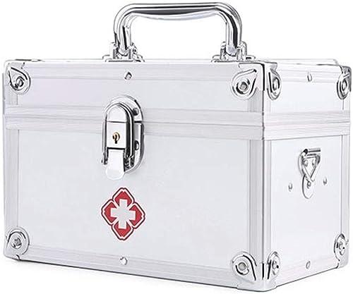 MXK Médecine en métal Boîte de Verrouillage sécuritaire Container Soins de santé Médecine Prescription Cabinet Organisateur Accueil Kit d'urgence 160x150x230mm