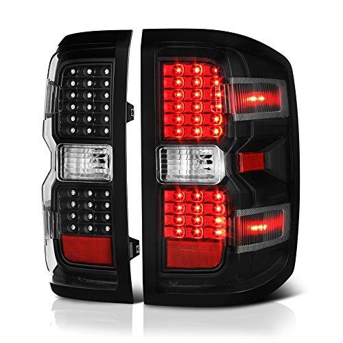 VIPMOTOZ Black Housing LED Tail Light Lamp Assembly For 2014-2018 Chevy Silverado 1500 2500HD 3500HD Incandescent Model, Driver & Passenger Side