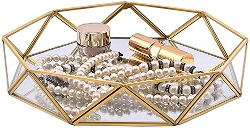 erddcbb Plateau à Bijoux, Plateau de Maquillage en Verre Miroir, Support de Rangement de Bureau décoratif pour Bijoux et Bougies de Parfum (Golden M)