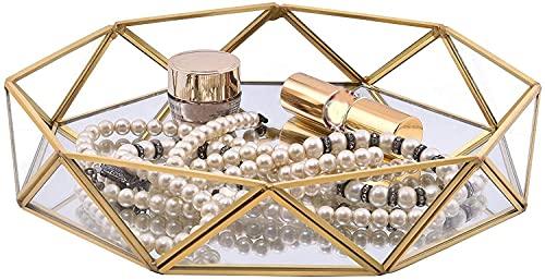 erddcbb Bandeja de joyería, Bandeja de Maquillaje de Cristal de Espejo, Estante de Almacenamiento de Escritorio Decorativo para Velas de joyería y Perfume (Golden M)
