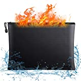 """Fireproof Document Bags,15""""x 11"""" Large Waterproof and Fireproof Folder Money Bag, Fireproof Safe Storage Pouch with Zipper for A4 Letter Size Document Holder,File,Cash,Tablet,Passport and Valuables"""