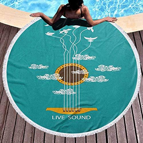 Tapiz de playa redondo Tapiz de guitarra Toallas de playa Toallas de piscina Toallas de piscina Temática de música abstracta con pájaros en cuerdas y nubes Ilustración Toallas de secado rápido, ligera