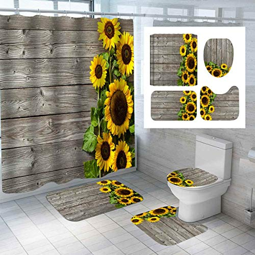 ZHEBEI Duschvorhang-Set mit Sonnenblumen-Muster, WC-Deckelbezug, Teppiche, rutschfest, für Küche, Bad, Holzbrett
