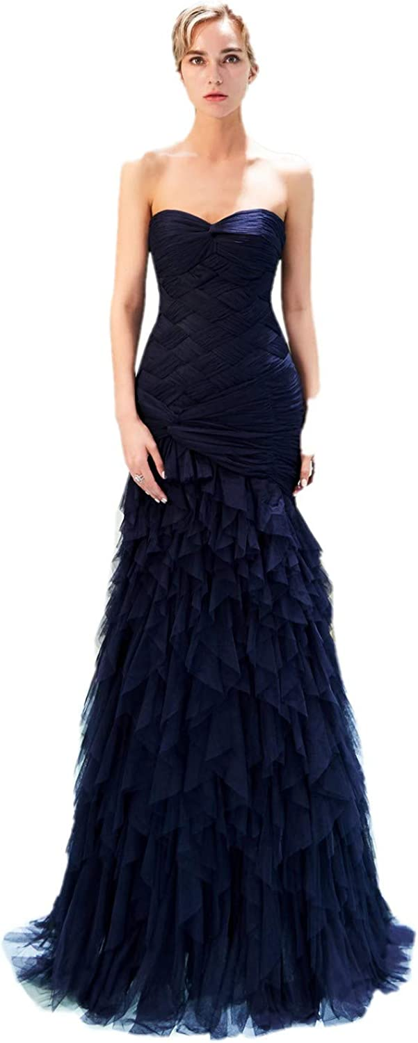 Darcy74Dulles Women's Strapless Mermaid Navy bluee Tulle Evening Dresses Long Formal Gowns